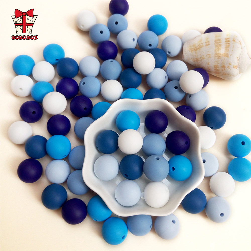 BOBO.BOX 12mm 20pcs Baby Teether Pearl Silicone Beads BPA Free Baby Teething Necklace Bracelet DIY Charming Nursing Toys Care