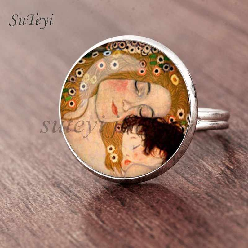 Suteyi moda o beijo klimt cameo vidro arte imagem anel foto artesanal jóias tamanho ajustável anéis presentes para meninas
