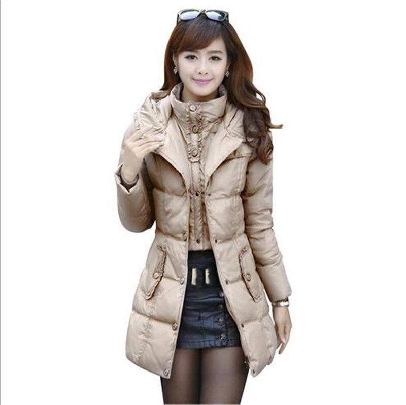 2016 Kış Kore İnce Büyük boy Bayanlar Moda Sahte Iki Beyaz ördek Aşağı Ceket Zarif Düz renk kapüşonlu Kadın sıcak Coat G0272