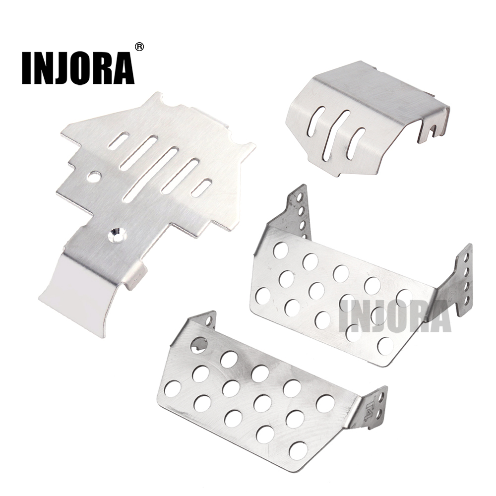 INJORA TRX4 Stainless Steel Chassis Armor Axle Protector Pedal Plate For 1/10 RC Crawler TRAXXAS TRX-4