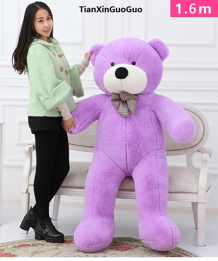 new arrival fillings toy purple Teddy bear plush toy bowtie bear large 160cm soft doll hugging pillow Christmas gift b2784 stuffed fillings toy about 120cm pink strawberry fruit teddy bear plush toy bear doll soft throw pillow christmas gift b0795