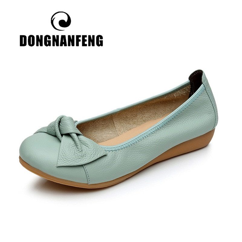 DONGNANFENG Women Shoes Mother Flats Casual Cow Genuine   Leather   Round Bowknot Slip On Loafers Pigskin Vintage 35-40 HN-306
