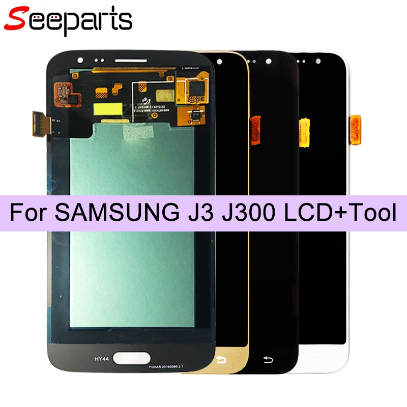 Black 5.0'' Super AMOLED LCD For SAMSUNG Galaxy J3 2015 LCD Display J300 J300F J300H Touch Screen Digitizer Replacement Parts