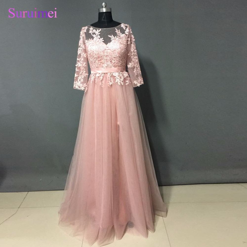 High Quality Coral Pink Evening Dresses 2017 Women Floor
