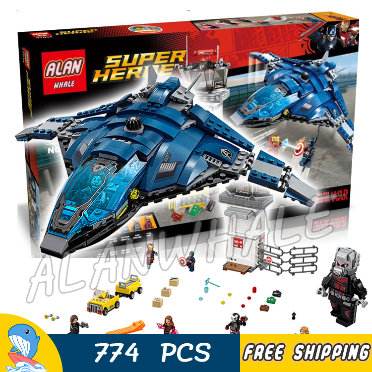 774pcs Super Heroes Captain America Civil War Airport Battle Iron Man DIY Model Building Blocks Toy Bricks Compatible With lego moc the iron man work station hall of armor war machine super heroes avengers building blocks kids toys not include minifig