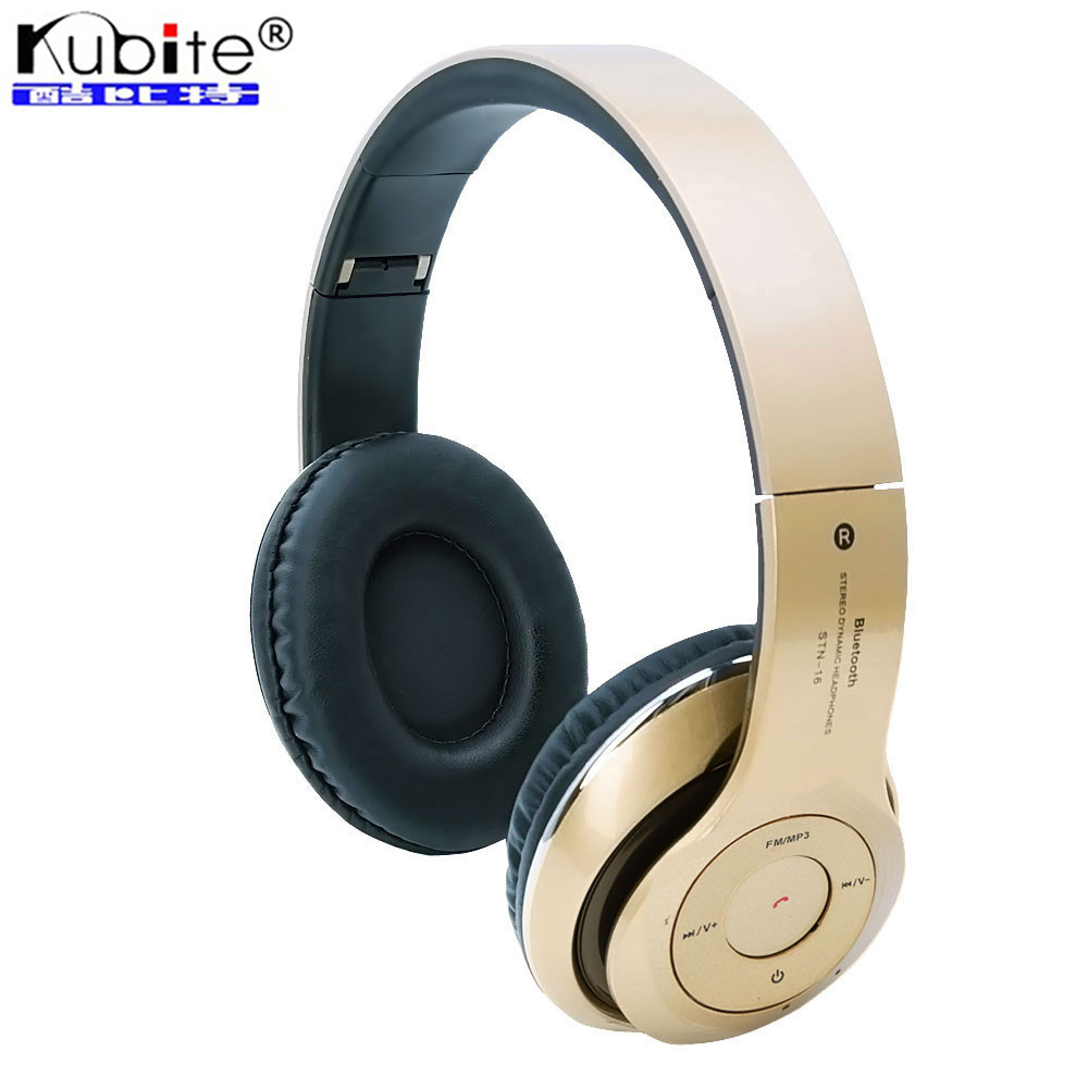earphone review 2016 cheap original kubite wireless bluetooth headset headphone foldable. Black Bedroom Furniture Sets. Home Design Ideas