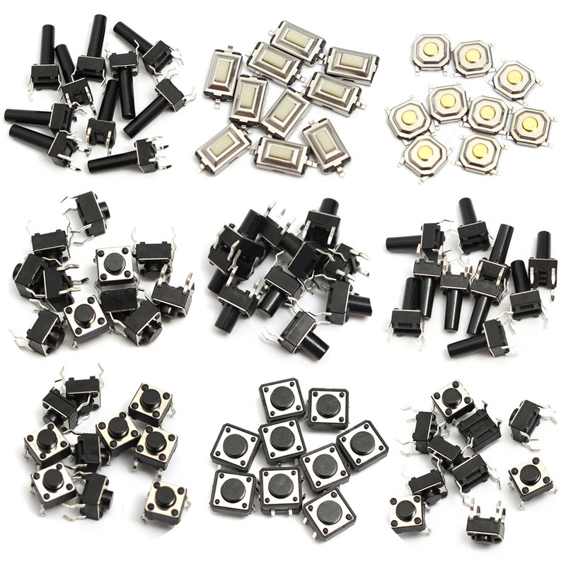 Details about 140pcs 14types Momentary Tact Tactile Push Button Switch SMD Assortment Kit Set Life 100000 times 6x6x5 6 7 8 9 10 12mm right angle 4pin tactile tact push button micro switch direct plug in self reset dip free shipping