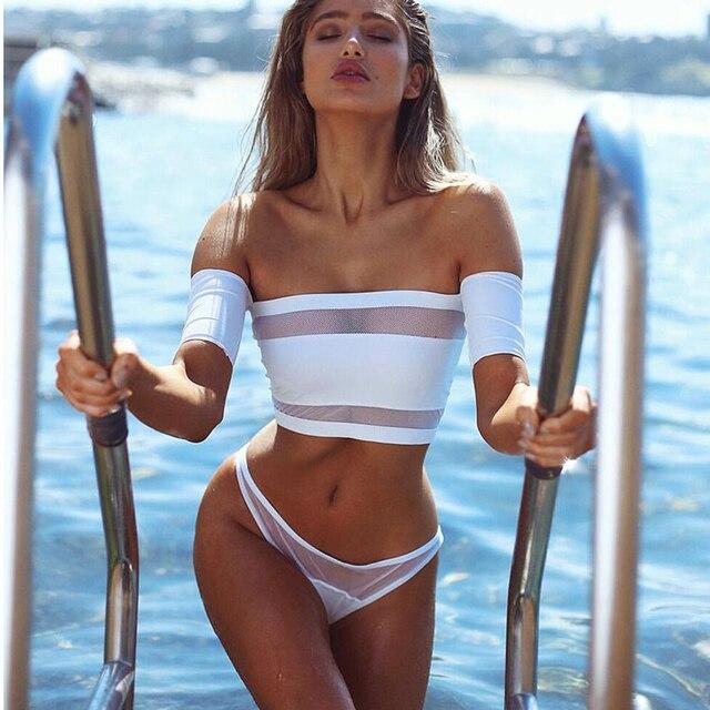 239e3085b422d bikini summer Sexy Swimsuit Women swimwear 2017 New Black White Off The  Shoulder 2 piece push up Mesh Beach Bra bathing suit