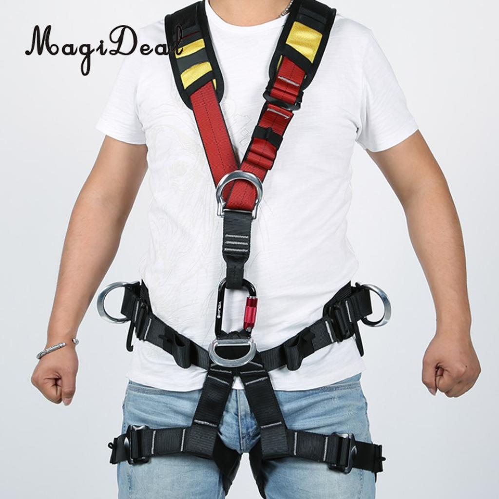 MagiDeal High Strength Outdoor Rock Climbing Rappelling Full Body Safety Harness Wearing Seat Belt for Mountaineering Supplies цена и фото