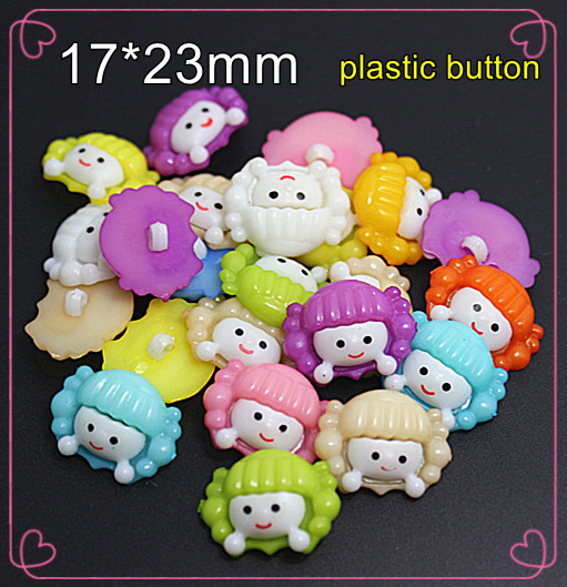 50PCS Mix color girl designed Plastic Cartoon Buttons1 Hole Sewing children Buttons Jewelry Accessory