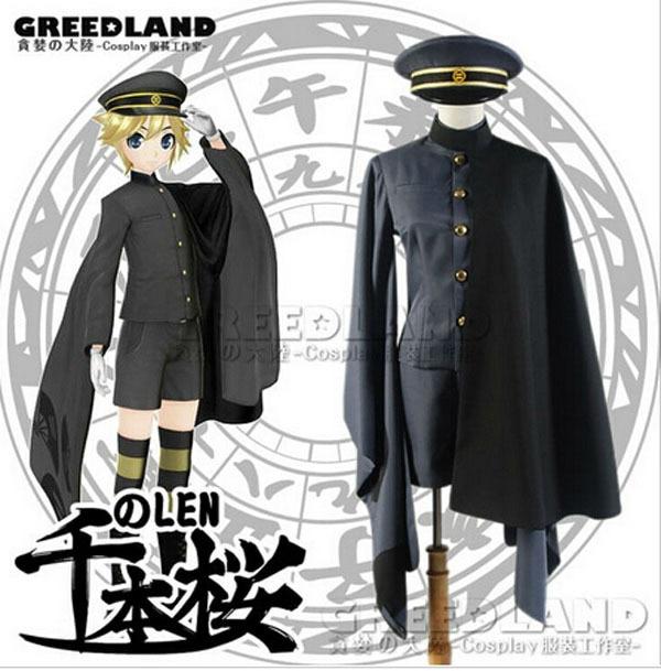 Frete Grátis Vocaloid Senbonzakura Kagamine LEN Cosplay Hallowmas Traje Cosplay do Quimono Uniforme Do Exército Pano Para Mulheres Dos Homens