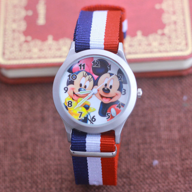 2018 Newest Cartoon Cut Mickey Minnie kids Nylon Strap Clock Watch Girls Student