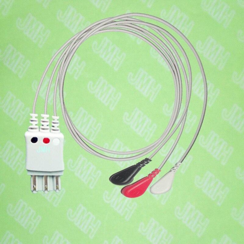 Compatible avec les fils de plomb HP M1673A ECG 3 de snap, AHA ou IEC.