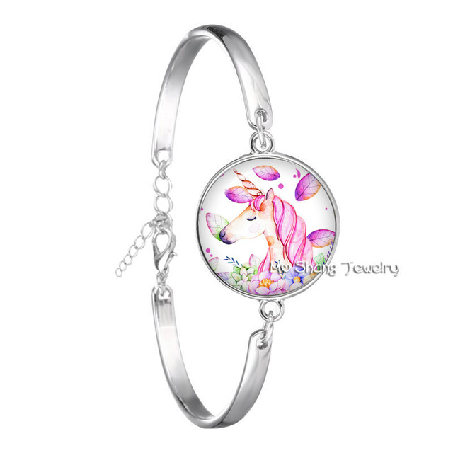 Womens Bracelet Cute Unicorn Fly Horses Glass Cabochon Bracelet Jewely Best Gift for Kids Boy or Girl Silver Color Animal Bangle