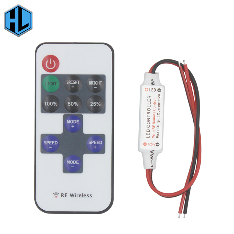 Gratis frakt 12A 5V-24V LED RF Wireless Mini Remote Dimmer Controller RF Wireless Remote LED Controller