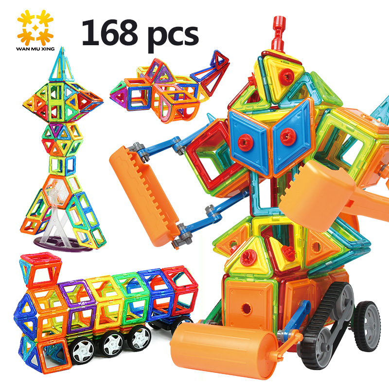 Mediem Sizes Magnetic Building Block Educational Toys Plastic Airplane Bricks Assembly Car Blocks Enlighten Toy for Kids 168PCS 62pcs set magnetic building block 3d blocks diy kids toys educational model building kits magnetic bricks toy
