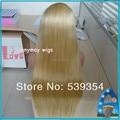 Белый Салон Класс 6а Природные Полные Парики Шнурка Малайзийских Виргинских Человеческих волосы Прямые Полные Парики Шнурка #613 С Волосами Младенца Боковой Части