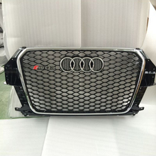 For audi Q3 RSQ3 Style Chrome Frame and emblem Black Front Bumper mesh Grill Grille 2013~2015