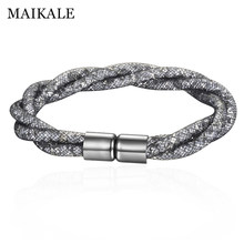 MAIKALE High Quality New Bracelets for Women Austrian Crystal Silver Magnet Buckle Fashion Jewelry Shiny Rhinestone For Women(China)