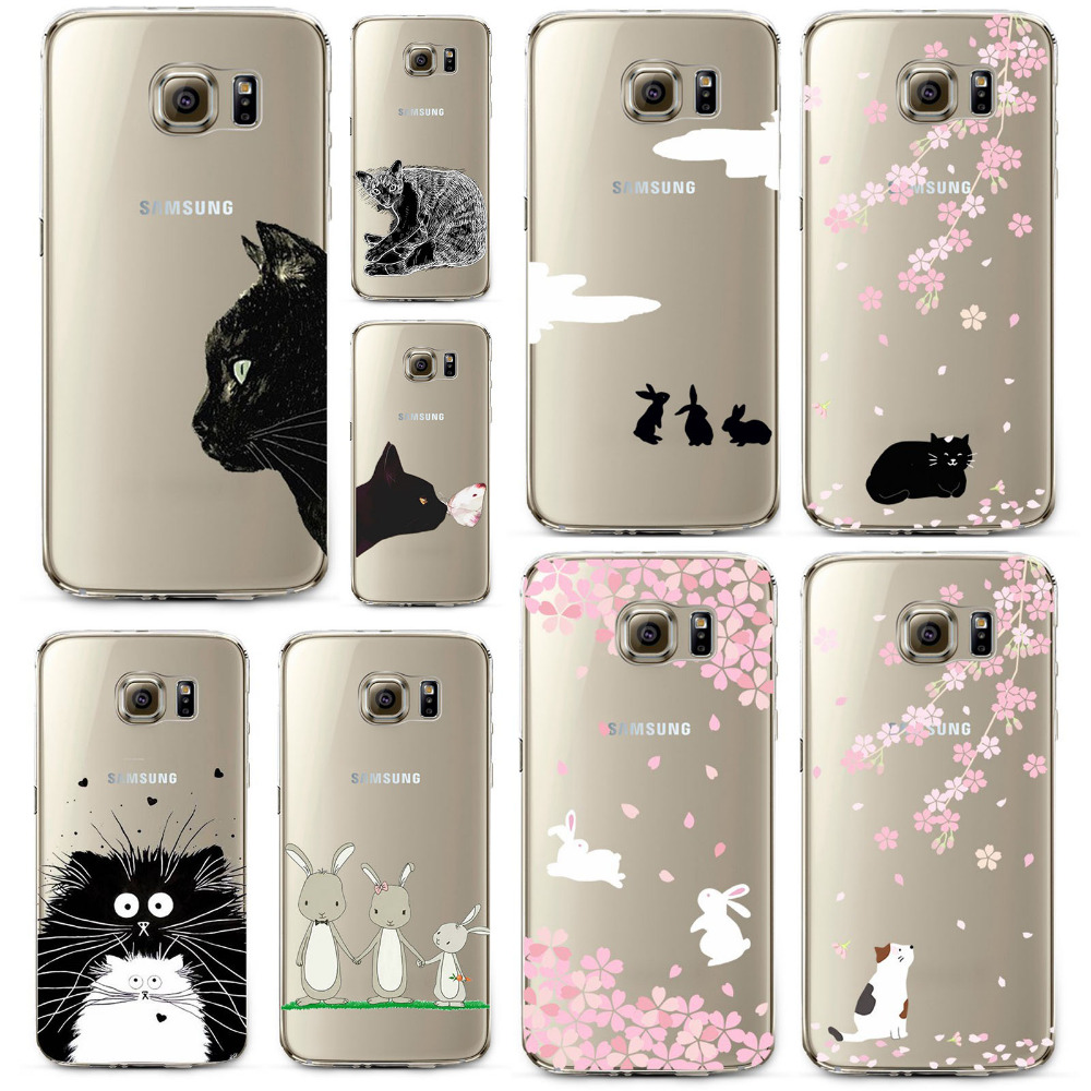 reputable site fe5f3 1bad5 US $2.2 |Soft Phone case for Samsung Galaxy S7 Cute Fashion Cat Rabbit owl  painted Crystal Clear Soft Silicone Transparent TPU Case cover-in Fitted ...