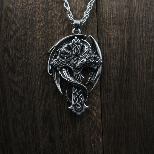 1pcs Fashion celt dragon pendant men cross necklace, dragon necklace, wing necklace, guardian cross, religious cross jewelry