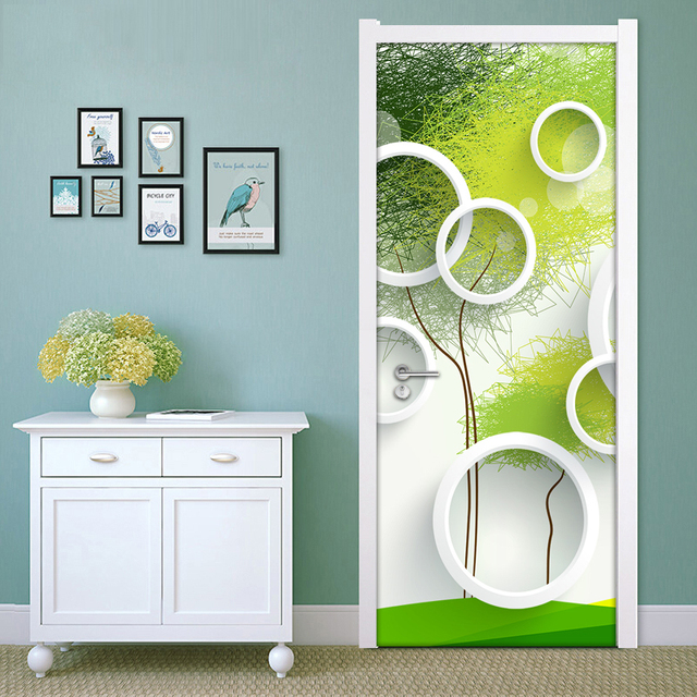 Modern Simple Geometric Circle Abstract Art Green Background Decoration Living Room Bedroom Door