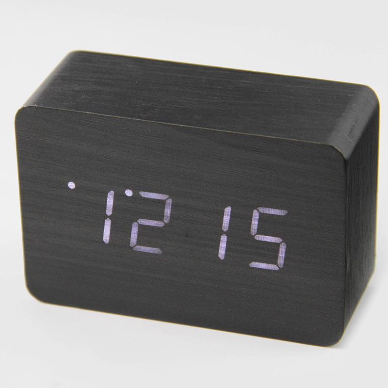Modern Digital Alarm Clock Small Cute Led Wooden Digital
