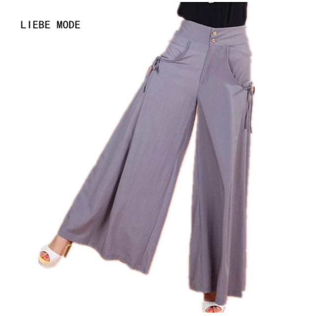 37a7d8128a04b 2016 Summer Culottes Wide Leg Pants Women Skirt Palazzo Pants Women Plus  Size Capris High Waist Loose Flared Trousers