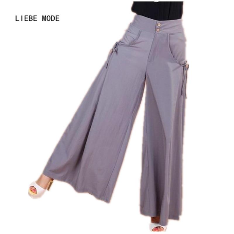 2016 Summer Culottes   Wide     Leg     Pants   Women Skirt Palazzo   Pants   Women Plus Size Capris High Waist Loose Flared Trousers