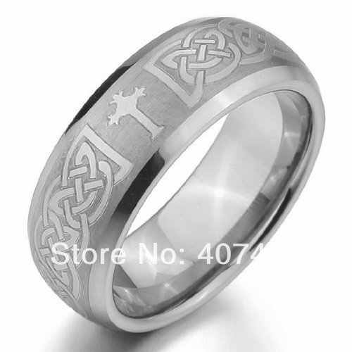 Free Shipping YGK JEWELRY Hot Sales 8MM Silver Satin Cross Promise Bridal Men's Tungsten Carbide Wedding Ring