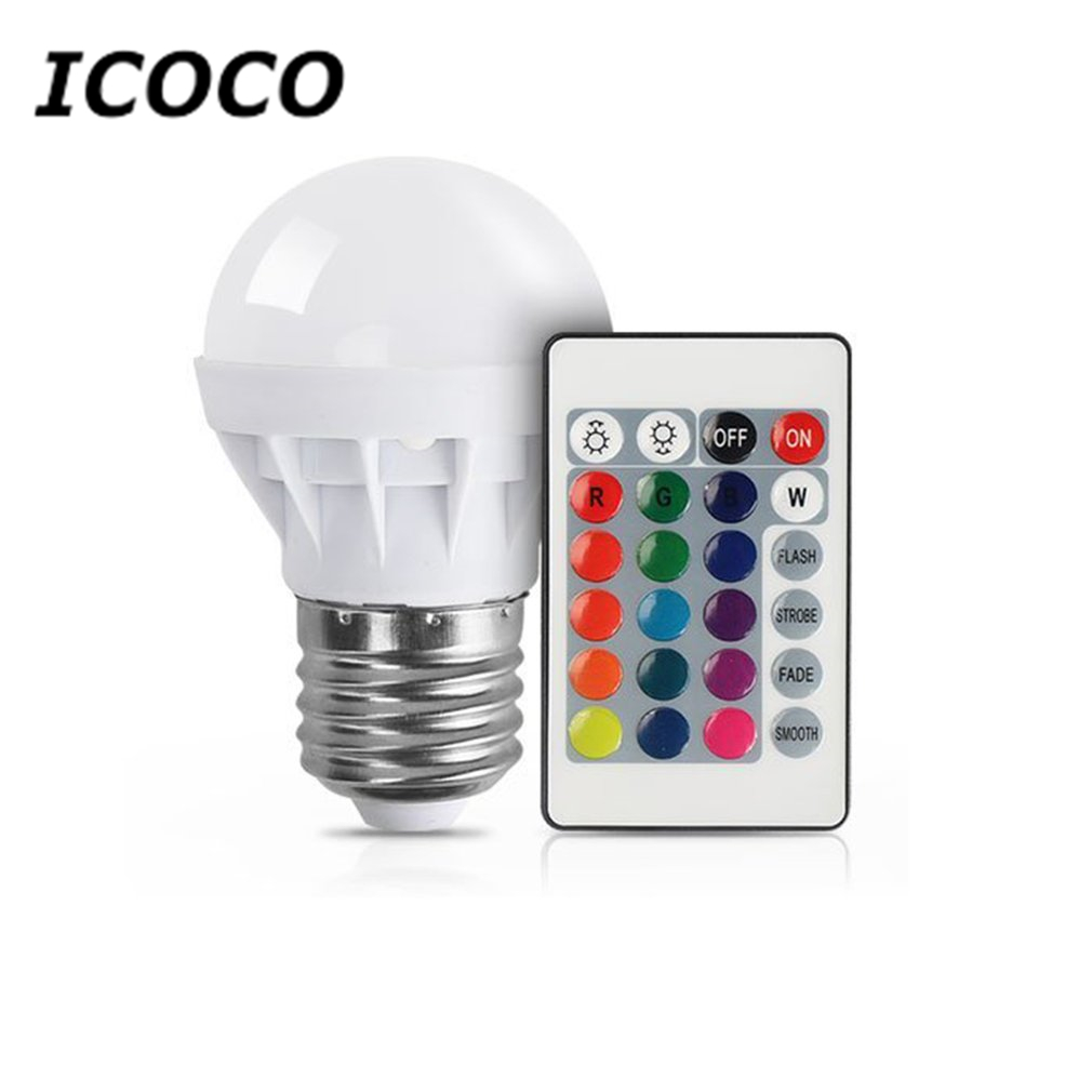 ICOCO 3W RGB LED Light Bulb Colorful E27 Multicolor Dimmer Bulb Lamp Indoor Wireless Remote Control For Christmas Party Wedding