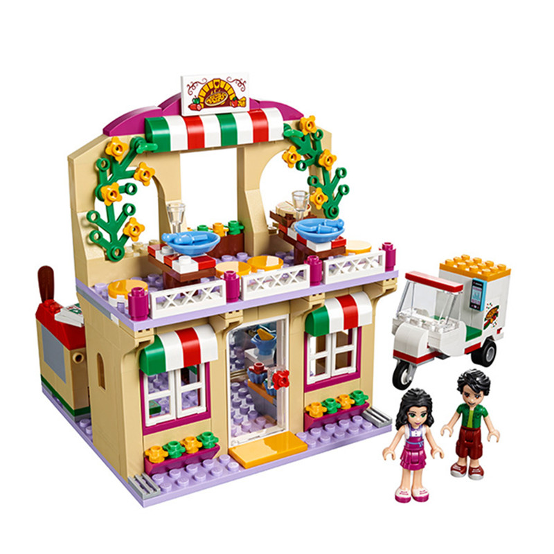 299pcs diy Friends Brick Building Blocks Heart Lake City Pizza Restaurant gifts Compatible with Legoingly toys for children 2017 hot sale girls city dream house building brick blocks sets gift toys for children compatible with lepine friends
