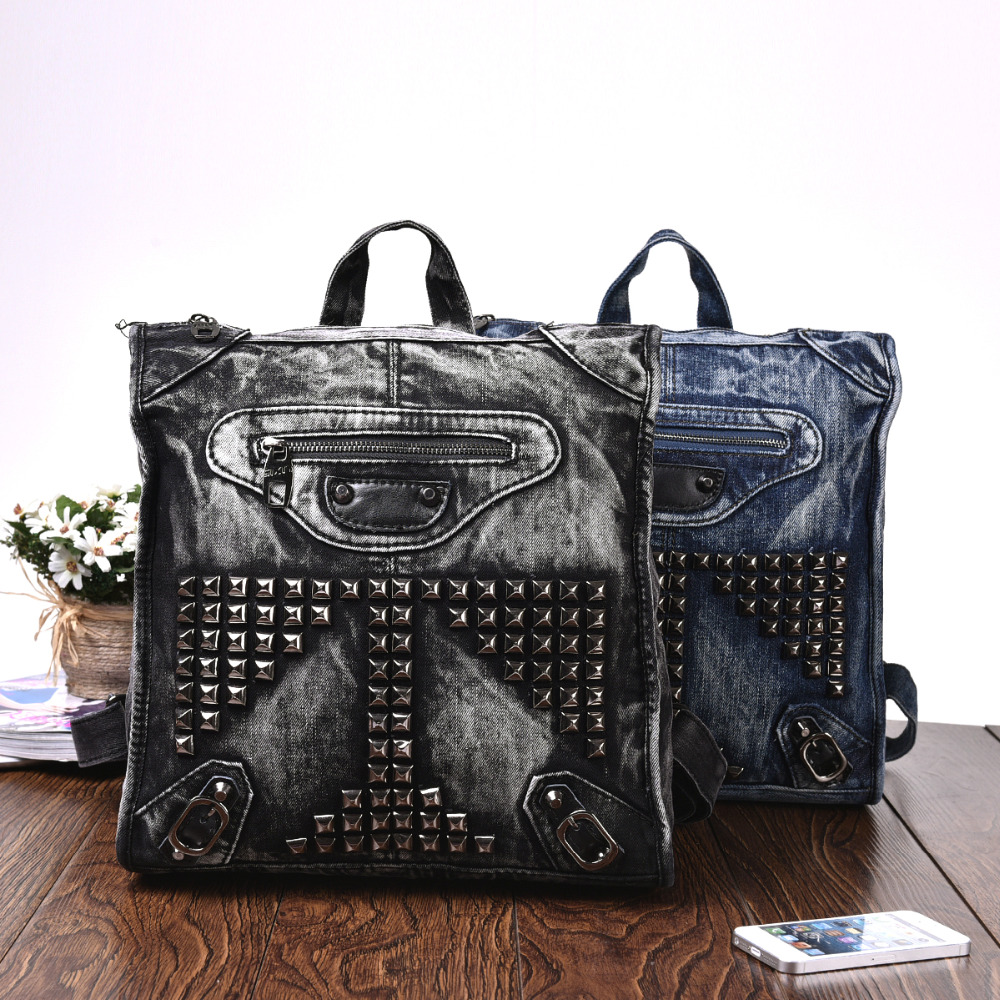 Vintage Casual Preppy Style Rivet Small Denim Backpack School Bags Jeans Women Daypacks CrossBody bag bolsa feminina 59443 vintage women jeans calca feminina 2017 fashion new denim jeans tie dye washed loose zipper fly women jeans wide leg pants woman