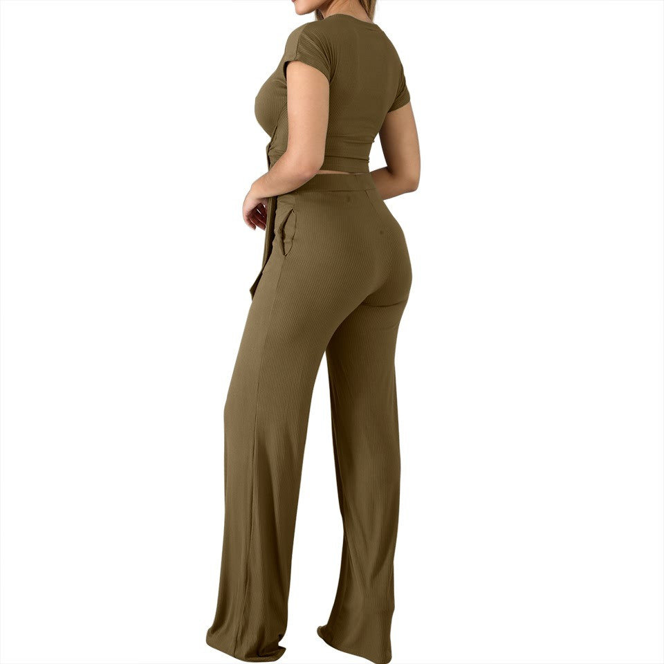 New product summer explosion women's tie with thin solid color short-sleeved wide-leg pants suit Gym Sportswear Workout Clothes