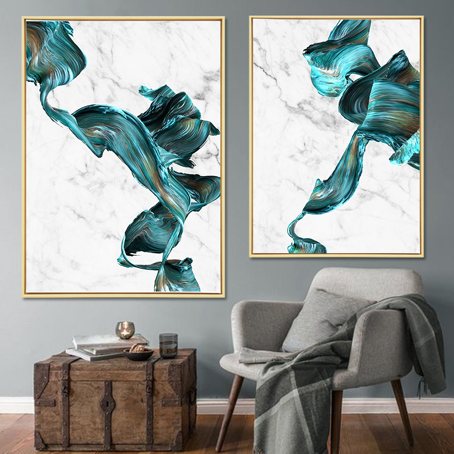 3 - Cuadro Colorful Abstract Pictures Marble Canvas Wall Art Posters and Prints  Modern Fashion Art Paintings Home Wall Decoration