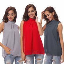 Summer new fashion bohemian chiffon shirt double high collar womens casual jacket sleeveless blouse
