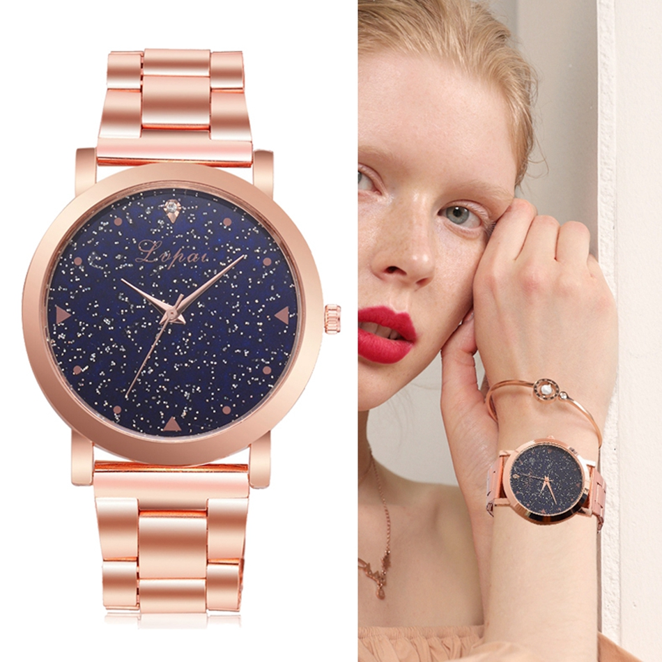 Women Dress Watches Rose Gold Stainless Steel Fashion Ladies