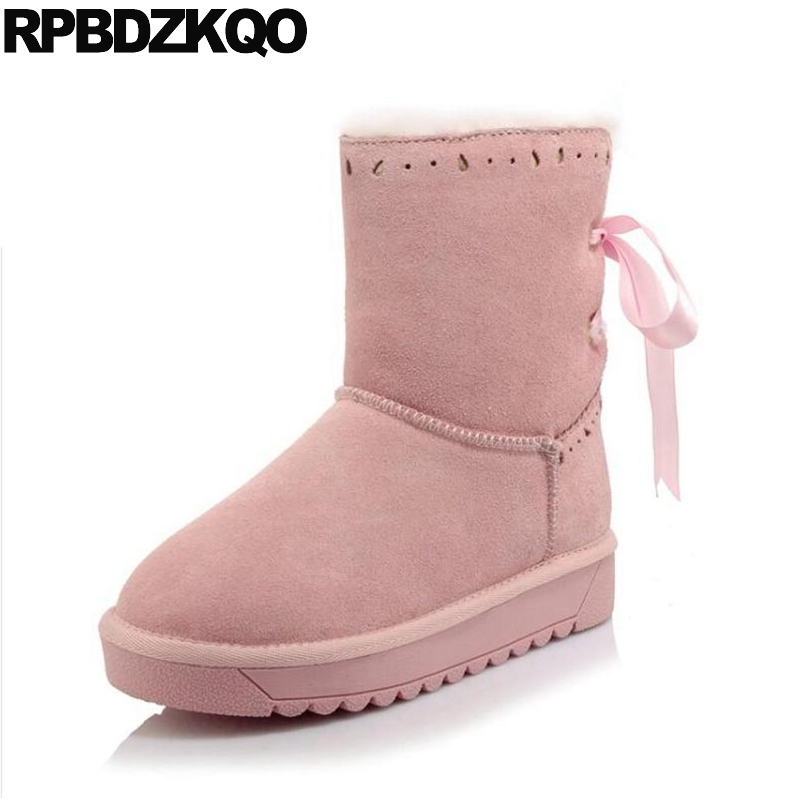 Female Suede Flat Shoes Fur Kawaii Snow Lace Up Size 34 2017 Women Ankle Boots Round Toe Australian Winter Pink Short 4 Ribbon big size 34 43 winter russian women keep warm shoes 100% cow suede fur shoes flat with round toe solid ankle lady snow boots