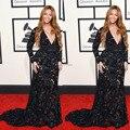 Beyonce preto Floral vestido 57th Grammy Awards bainha Sexy V pescoço de manga comprida celebridade vestidos 2015
