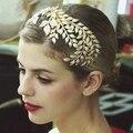 Oro Peine Tiara Nupcial Rhinestone Crystal Crown Hair Frontlet frente diadema Cabeza Accesorios de La Joyería de La Boda de la joyería de La Vendimia
