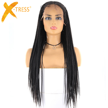 13x6 Lace Front Synthetic Hair Wigs For Women X-TRESS Natural Black Br