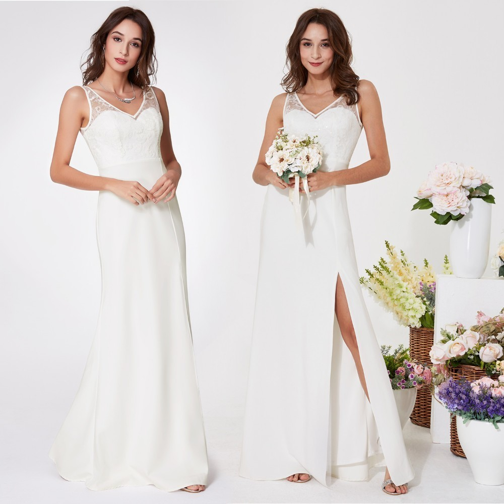 Wedding Dress Ever Pretty EP07233 Women V-neck Sexy Leg Slit Sleeveless Little Mermaid Lace Vestido De Noiva Bridal Dresses 2019