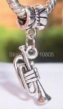 100pcs Fashion Jewelry Wholesale Antique Silver Trumpet Charm Pendant Suit Necklace&Bracelet Fitting DIY Free shipping B826