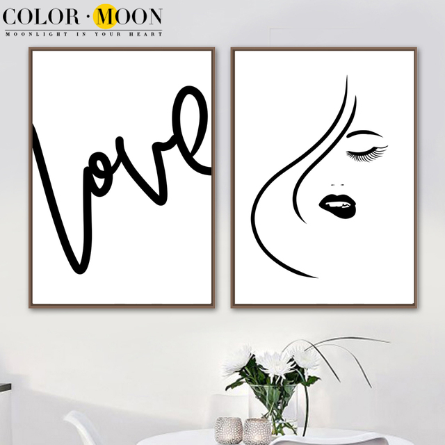 Colormoon Minimalism Girl Love Quotes Posters And Prints Black White