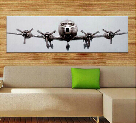 Free Shipping 100%Handpainted Large Size Airplane Art Painting on Canvas by Skilled Artist for Wall Art Decoration 1pc image