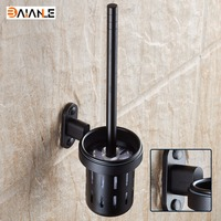 Wall Mounted Bathroom Accessories Black Space Aluminum Bathroom Toilet Brush Holder Free Shipping