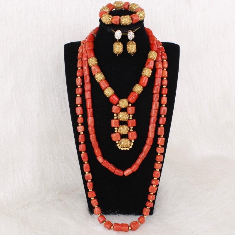 Dudo bijoux collier africain perles de corail ensembles de bijoux pour les femmes avec des fleurs 3 pièces Dubai ensembles de bijoux 2019 Designers bijoux - 2