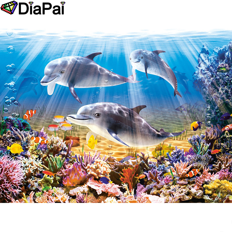 DIAPAI Diamond Painting 5D DIY 100 Full Square Round Drill quot Animal dolphin quot Diamond Embroidery Cross Stitch 3D Decor A23379 in Diamond Painting Cross Stitch from Home amp Garden