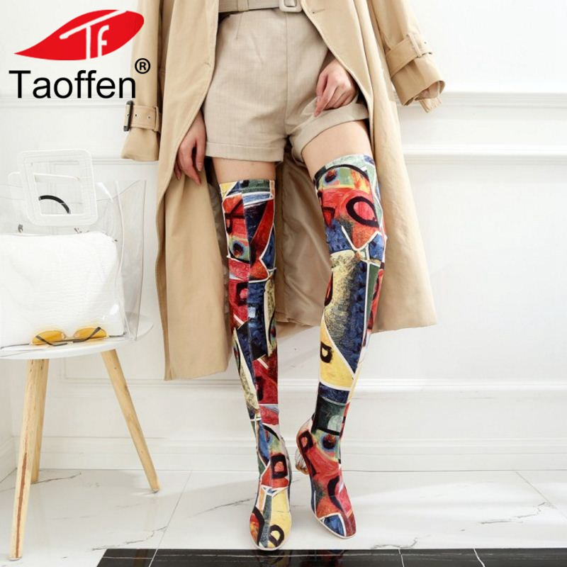 TAOFFEN Female Autumn Winter Thigh High Boots High Heels Women Over The Knee Botas Ankle Boots Mujer Shoes Plus Size 34-43 embroidered flamingo patch drop shoulder sweatshirt