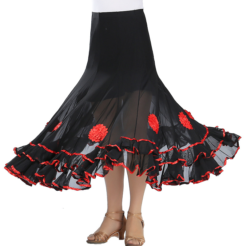 Women Belly Dance Waltz Flamenco Ballroom Dress Competition Outfits Spain Dancer Skirts Long Swing Dance Skirt Holographic (5)